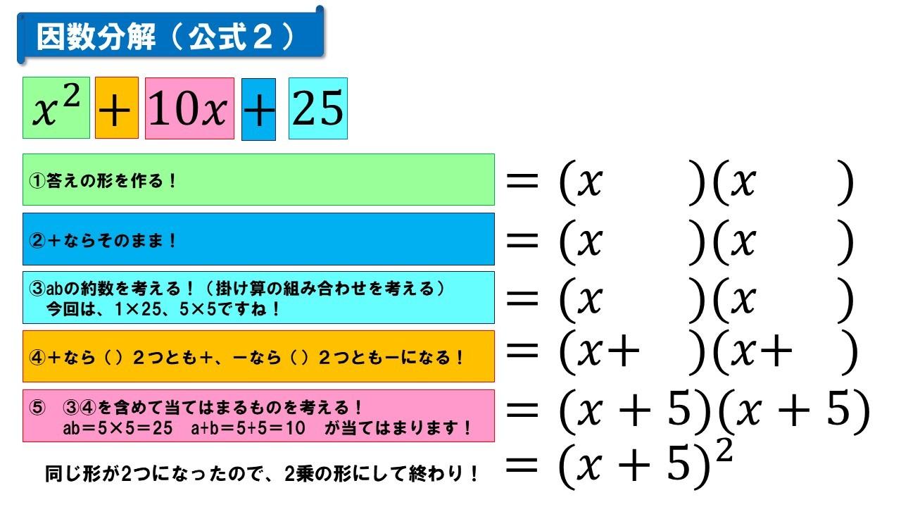 因数分解(公式2)
